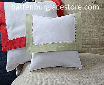 Envelope Pillow.Baby Size 8 in. White with MELLOW GREEN Trim.
